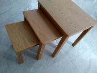 Large solid wood hardwood nest of tables
