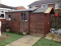 Shed 10 x 8 with electrics and attached 6 x 4 shed