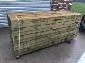 🌲•New• Pressure Treated Wooden Railway Sleepers 190 x 90 x 2.4m🌲