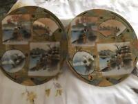 c.19th - Antique Japanese Japan Kutani Meiji Period Porcelain Plate x 2