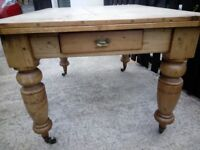 antique victorian pine scrub top table