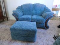 2 seater sofa with footrest/storage unit