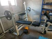 Power Cage and Weights Bench