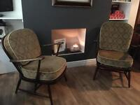 Pair of Ercol Windsor Armchairs - Retro Vintage