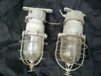 Vintage old industrial Metal Explosion Proof Factory Lamps Lights Steampunk retro salvage