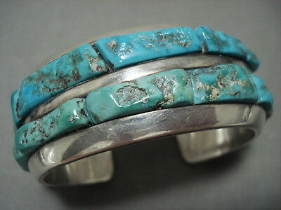 OUTSTANDING VINTAGE NAVAJO 'HEAVY TURQUOISE INLAY' SILVER BRACELET OLD