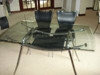 Solid Glass Table + matching 4 black chairs