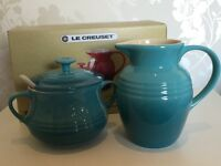 Le Creuset Sugar and Cream Set - Teal - New