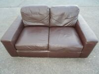 RRP: £550 IKEA KIVIK TWO SEATER STYLISH BROWN LEATHER SOFA (I CAN DELIVER TODAY)