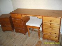 Dessing Table Stool & Bedside Cabinet in Pine