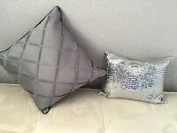 X2 bed pillows silver diamanté and grey and black