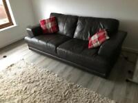 Brown all leather two seater sofa