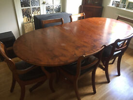 Yew wood veneer extendable dining table and 6 chairs