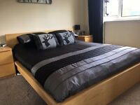 IKEA Malm Range Kingsize Solid Wooden Bed Frame and Matching Drawers.