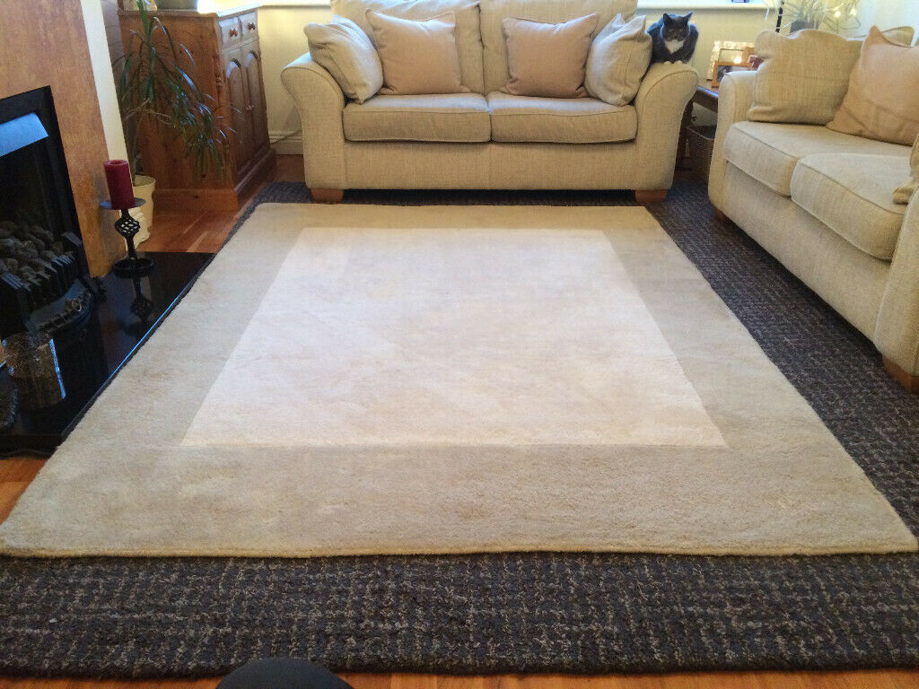 Cream And Beige Next 100 Wool Rug In