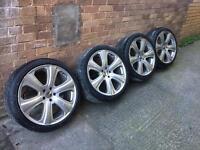 "20"" genuine Kahn alloy wheels RSD 6 spoke with tyres"