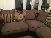 Brown and cream corner sofa