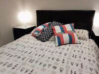 Black-Brown Faux-Leather Double Bed & Memory Foam Mattress