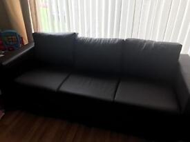 New brown faux leather sofa