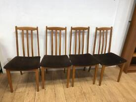 Set of 4 teak mid century teal chairs