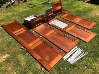 10 Cherry Wood B&Q kitchen cabinet doors and 6 drawers all with hinges, screws and sliding rails