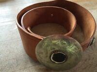 Artisan women's leather belt