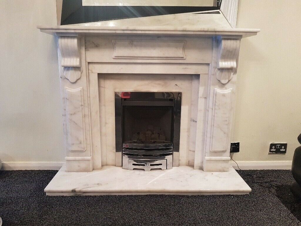 Stunning Polished Marble White Grey Mantelpiece Fire Surround Gas Fireplace In Pollokshields Glasgow Gumtree