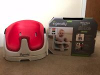 Baby Seat with table (similar to Bumbo) Red and white in excellant condition with original box