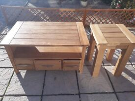 Solid oak tv unit & matching lamp/coffee tables. Immaculate condition.