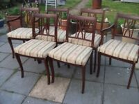 six dining room chairs two carvers and four chairs mattching