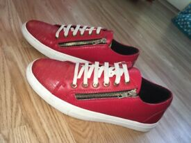 Red snakeskin sneakers must go size 7