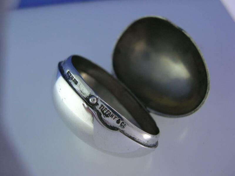 Rare Sterling TIFFANY & CO Pill Box ~ Egg shaped ~no mono