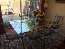 Metal & glass dining table with six metal chairs in excellent condition £120