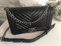 Genuine leather Chanel le boy bag, medium size