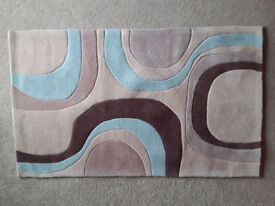 Lovely Thick Teal/Brown/Beige Rug 90cm x 150cm