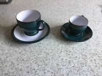 6 Denby Cups and Saucers and 6 Espresso Coffee cups and Saucers. Greenwich design. Never used.