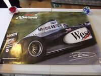 F1 CAR RACING POSTER OF DAVID COULTHARD WHEN HE WAS WITH MCLAREN MERCEDES TEAM IN GOOD CONDITION £3