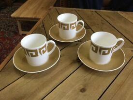 3 Susie Cooper Wedgwood cups and saucers Keystone old gold