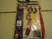 KIDS CLOWN COSTUME - JUMPSUIT AND HAT - SIZE S/3-4YRS - NEW IN PACKAGING