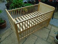 Mothercare Cot Bed beech , good condition, easy assembly, to collect