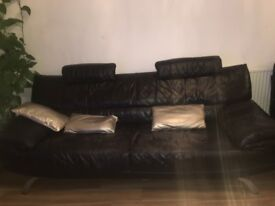 Black leather sofas!