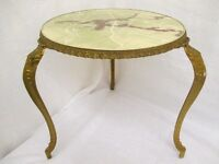 VINTAGE GOLD SHABBY CHIC STYLE OCCASIONAL TABLE SIDE TABLE WITH MARBLE EFFECT TOP FREE DELIVERY