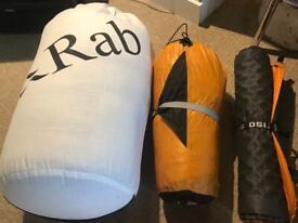 Camping gear tent sleeping bag mat