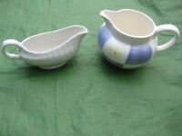 White Gravy Stoneware Jug and General Purpose China Jug - 2 for £2.00