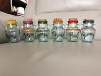 Glass spice jars x 6
