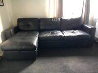 Italian Leather Corner Sofa Bed With Ottoman Storage