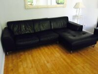 BLACK LEATHER CORNER SOFA - GOOD CONDITION - MUST GO ASAP - FREE DELIVERY SOME AREAS - £275
