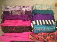 Selection of 12 ladies scarves