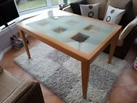Oak and glass contemporary dining table