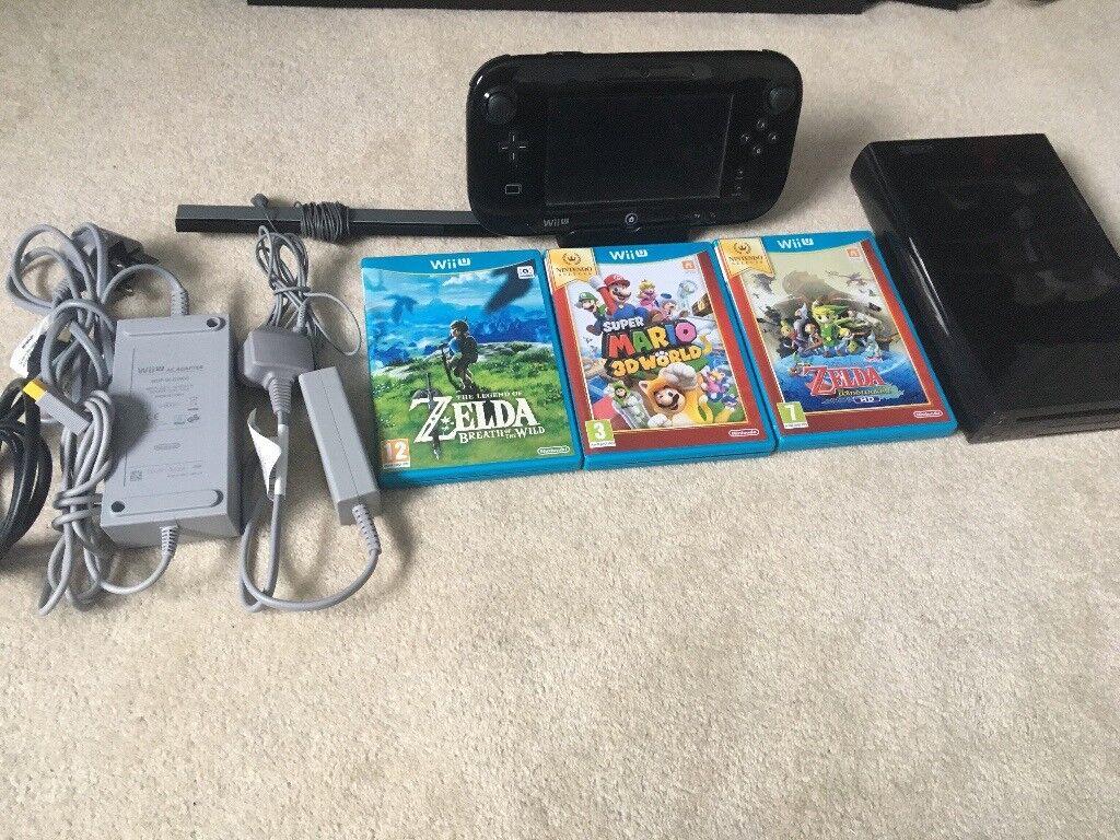 Nintendo Wii U 32GB with Zelda BOTW, Zelda TWW, Mario Kart 8, Super Mario 3D World